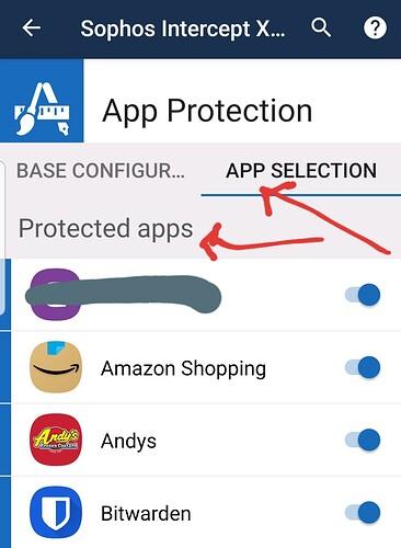 Sophos Intercept X for Mobile App Selection for App Protection Screenshot