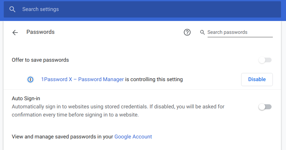 Use the Chrome password management API to better integrate in the