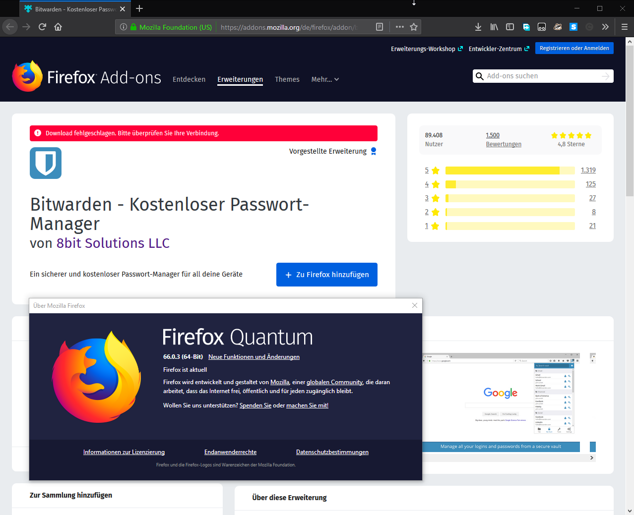Unable to install on Firefox 66 0 03 - User-to-User Support